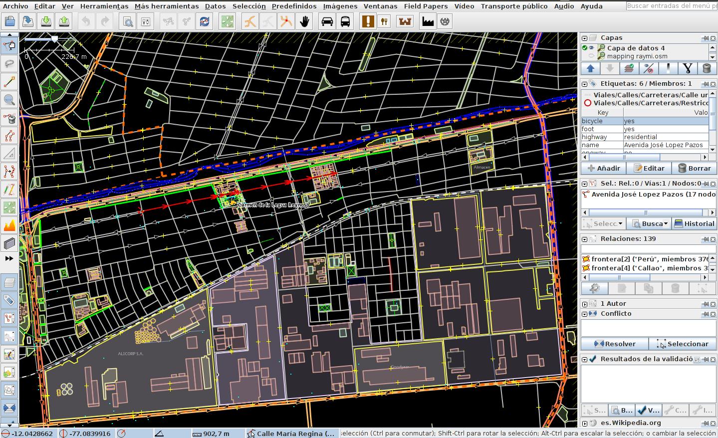 Captura de pantalla de edición de mapas con JOSM
