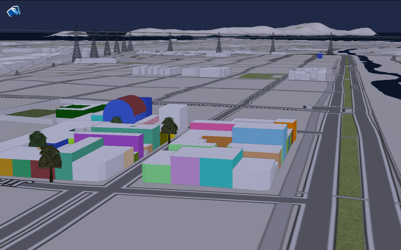Captura de pantalla de representación 3D de parte del barrio en f4map.com